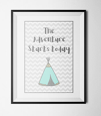 Cute Modern Teepee quote - Nursery Baby Christening Decor A4 Art Print