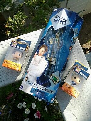 Doctor Who Figure Lot River Song Sonic Screwdriver and Funko MiniPop 12th & 11th