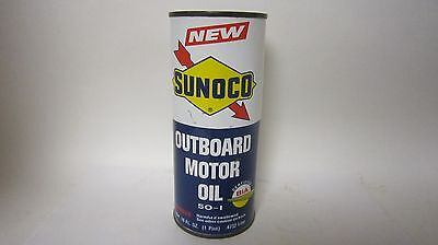 Vintage Oil Can Sunoco NOS Sealed Outboard Motor Oil All Metal Original Tin