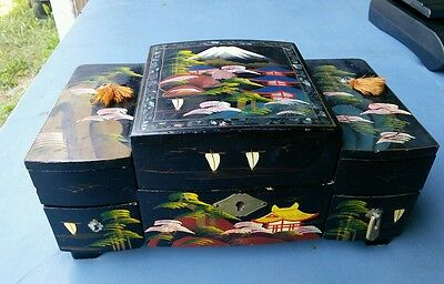 vintage japanese hand painted acsons jewelry box