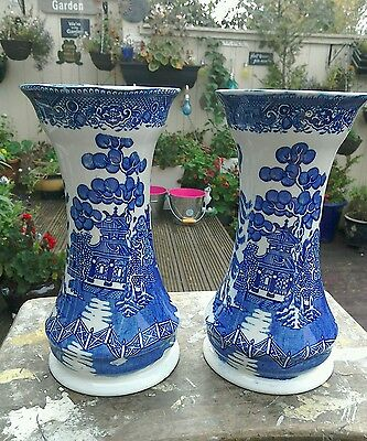 Antique Pair Of Maling Cetem Ware Blue And White Vases