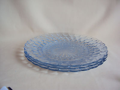 Vintage Anchor Hocking Blue Bubble Glass Dinner Plates Set Of 3