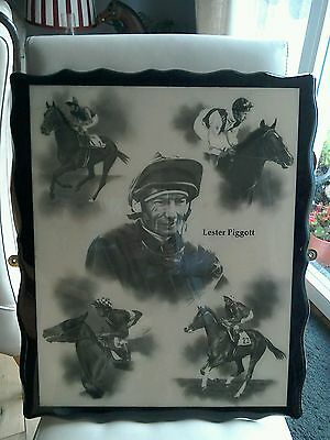 Vintage Wooden Lacquered Picture Of Lester Piggot Horse Riding