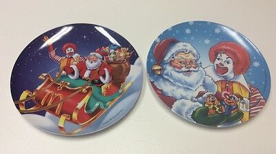 """New Set of Two 1997 McDonalds 9 1/2"""" Plastic Christmas Collector Plates"""
