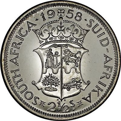 South Africa 2-1/2 Shillings 1958 Proof Silver ~Mintage: 985 & Choice Quality~