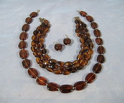 Faux Tortoise Shell Amber Necklace Lot of 2 w earrings Vintage Lucite Plastic