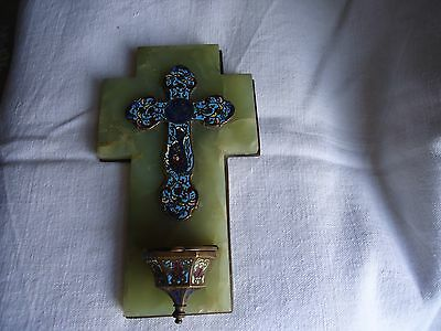 Beautiful French Vintage/Antique enameled Cross with Holy Water Font