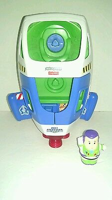 FISHER PRICE Little People DISNEY TOY STORY BUZZ LIGHTYEAR SPACE SHIP & BUZZ