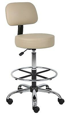 Medical/Drafting Stool with Back Cushion Beige Adjustable Caster Wheels Chair