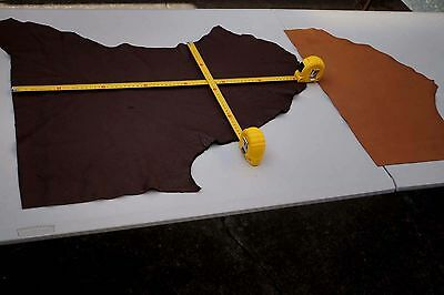 Dark Brown/Tan Combo Cowhide Elmo Upholstery Leather Pieces Semi-Anilin soft