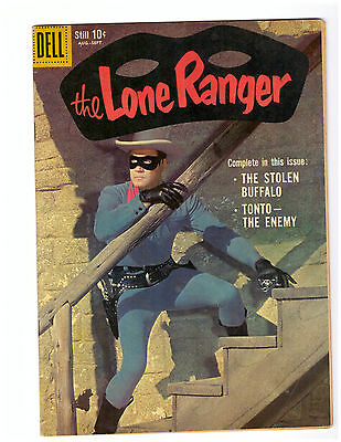 The LONE RANGER # 129 FN/VF 1959 DELL Golden Age comic PHOTO COVER Clayton Moore
