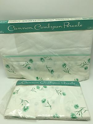 Vintage Cannon Combspun Flat Sheet Pillowcase NEW NOS Green Turquoise Double
