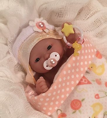 """OOAK Girl 5-6"""" Baby Doll Clothes~Pink~Cocoon~Pacifier~For Mini Reborn~Berenguer"""