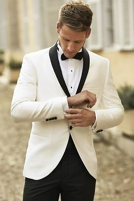 Ivory Coat With Black Shawl Lapel Groom Groomsmen Suits Best Men Party Tuxedos