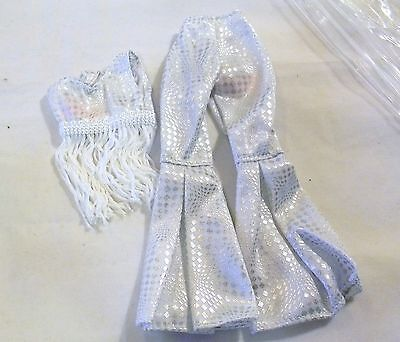 Barbie Doll Size White & Silver Bell Bottom Pants & Fringed Top