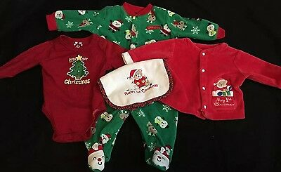 "Lot of 4 ""My First Christmas"" Footed Sleeper PJs Bodysuit Bib Sz 0-3 months EUC"