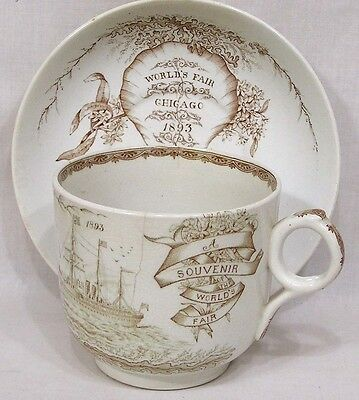 Vintage Worlds Fair 1893 Columbian Large Cup Saucer Ships Seaweed Ironstone