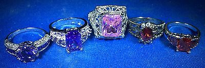 Estate Ring Lot Sizes of 8, 8, 7, 7 and 6 Garnet Ruby Amethyst and Pink Sapphire