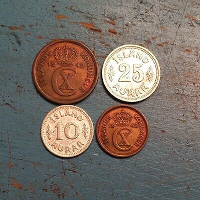Iceland 4 Coin Lot Scarce Dates