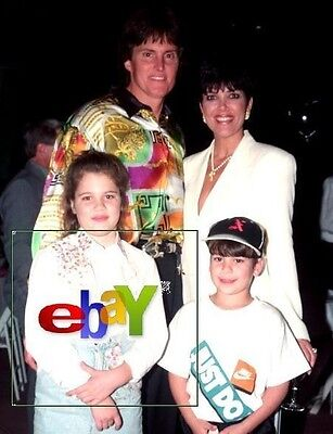 "BRUCE and KRIS JENNER and kids KHLOE and ROB - Original 8 x10"" color photo -1993"