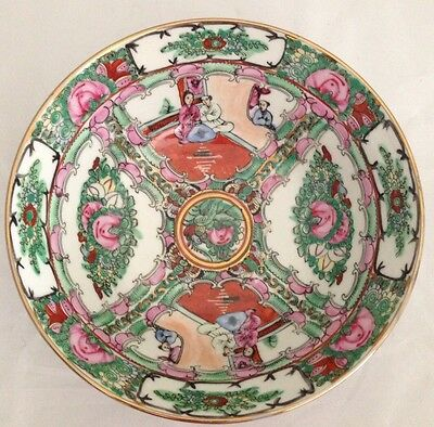 Antique Chinese Famille Rose Pink Flowers Porcelain Bowl Marked