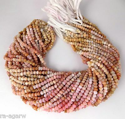 "2 Strand Genuine Pink Opal Shaded Faceted Gemstone Rondelle Beads 4mm 13"" Long"