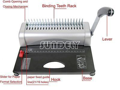 New Paper Punch Binder Binding Machine 450 Sheets - with Starter Combs Kit UK