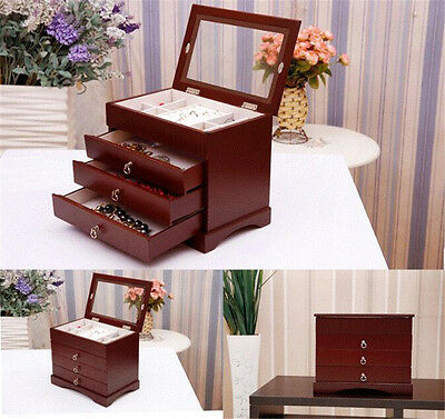 Wooden Jewellery Gift Storage Box Earring Bracelets Watch Case 4 Layers Red