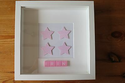 Personalised picture frame STARS /new baby/christening /nursery/scrabble tiles