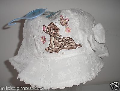 Disney Baby Bambi White Sun Hat ages 0-6, 6-12,12-23mths away 26th june-5th july