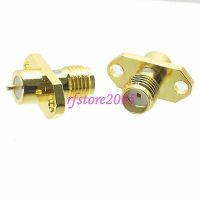 1pce Connector SMA female jack 2-holes Flange solder deck mount RF COAXIAL