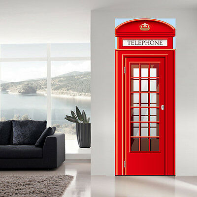 Door Wall Fridge STICKER Tardis London police booth box mural decole poster