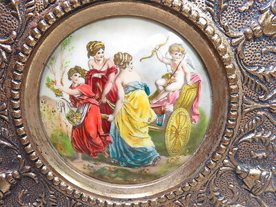 Vintage Wall Plaques With Hand Painted Porcelain From Spain