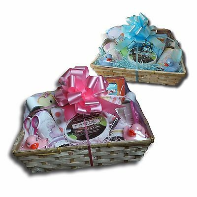 New Baby Gift Basket Hamper for Boy/Girl | Baby Shower | Blue/Pink | 15 items