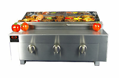 3 Burner Gas Charcoal Grill BBQ Chargrill Heavy Duty for Commercial Use