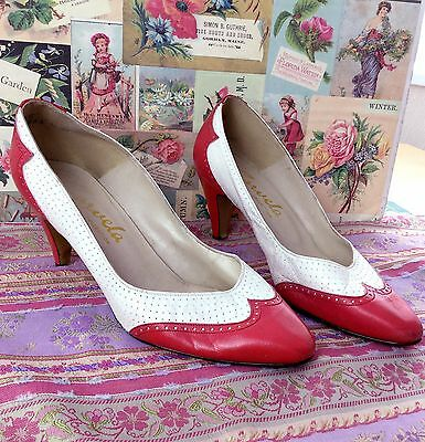 Vintage Carvela Leather Stiletto Court Shoes Heels 4 Red White 80s 50s