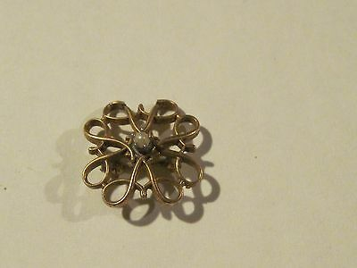 Antique 10 kt gold pin with pearl center makers mark R