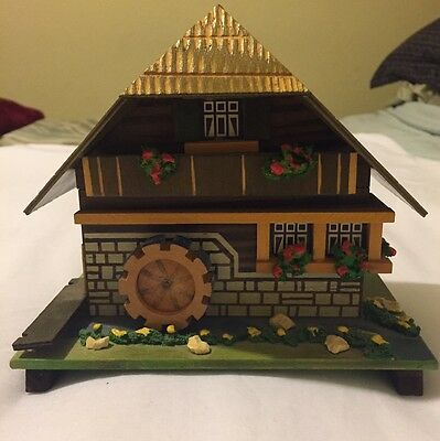 Vintage BLACK FOREST SWISS CHALET WATER MILL MUSIC BOX / JEWELRY BOX Working