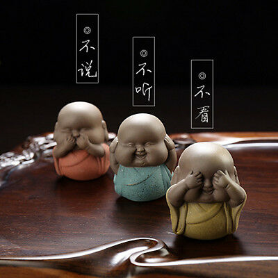 """Color sand """"3 NO"""" young monk furnishing articles Collection set of 3 tea pet New"""
