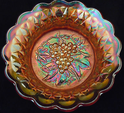 Imperial Marigold 'Heavy Grape' Carnival Glass Large Bowl