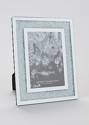 Large Holds 6x4' Photo Crystal Filled Bling Mirrored Glass Photo Frame Swarovski