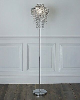3 Tier Jewelled Beaded Sparkle Glamour Floor Lamp Silver French Crystal