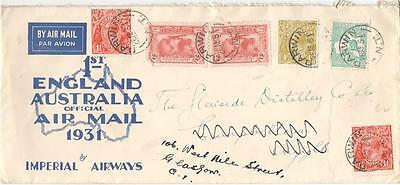 a51  Australia  first flight cover official air mail 1931 by Imperial Airways