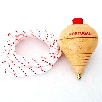 Vintage Wood SPINNING TOP with String Toy Handmade Decorative Souvenir Portugal