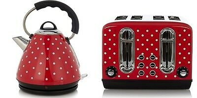 Red Retro Polka Dot Stainless Steel Pyramid Kettle and 4 slice toaster set Love