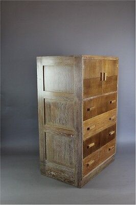 Heals limed oak 1930's tallboy chest of drawers