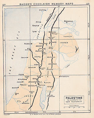 1895 Antique Map of Palestine / Quebec (2 maps on 1 sheet)