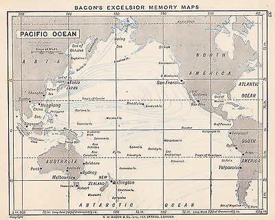1895 Antique Map of the Pacific Ocean