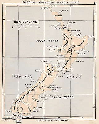 1895 Antique Map of New Zealand/Nile River Basin (2 maps on 1 sheet)