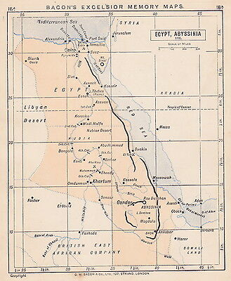 1895 Antique Map of Egypt / England & Wales (2 maps on 1 sheet)
